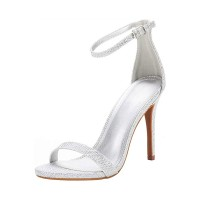 Heel Sandals Black Stiletto Heel Round Toe PU Leather Ankle Strap Heels Business Casual #113240950842