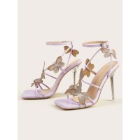 Lilac Ankle Strap Heels Peep Toe Butterfly Sexy Stiletto Heel Sandals for Women 2021 #113240925502