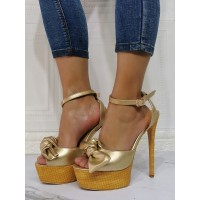 Sexy Sandals For Woman Light Gold PU Leather Open Toe Stiletto Heel Sexy Heeled Sandals Top Sale #12400940618