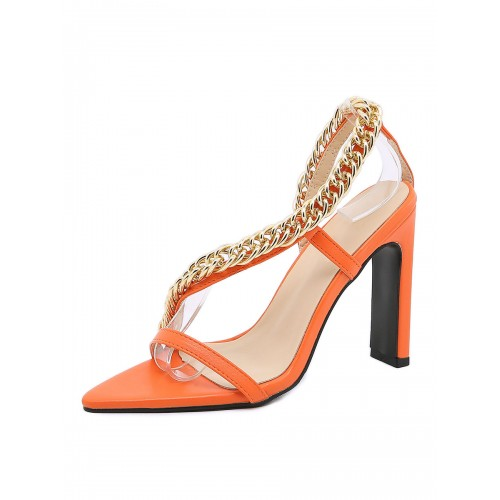 Women Sandals Chunky Heel Pointed PU Leather Orange Ankle Strap Heels Online Wholesale #113240968610