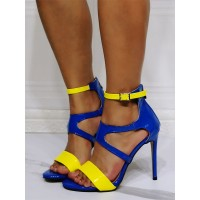 Women's Two Tone Ankle Strap Stiletto Heel Sandals in Blue Business Casual #113240962364