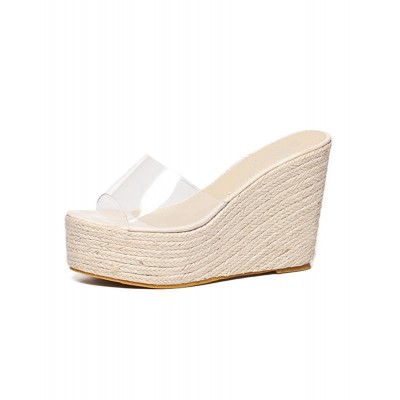 Apricot Wedge Sandals Clear Peep Toe Mule Espadrille Wedges cool designs #06200659099