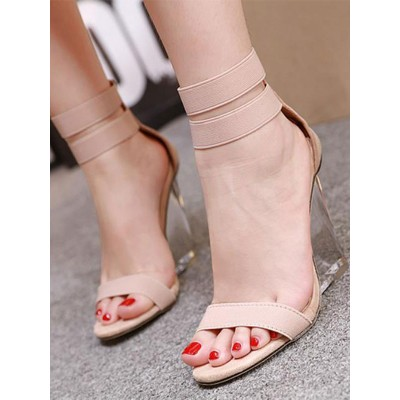 Apricot Wedge Sandals For Women Peep Toe PU Leather Summer Ankle Heels the best #113120945052