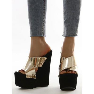 Black Wedge Sandals For Woman Gorgeous Rivets PU Leather Slip-On Open Toe Wedge Heel Summer Heeled Slipper Cost #32680942200