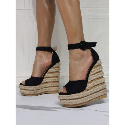 Black Wedge Sandals For Women Beautiful Open Toe Micro Suede Upper Ankle Strap Wedge Sandals e fashion #32680940608