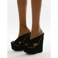 Wedge Sandals For Woman Charming Rivets Open Toe Terry Black Wedge Heels #32680956302