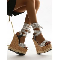 Wedge Sandals For Women Amazing Canvas Lace Up Open Toe White Wedge Sandals #32680948218