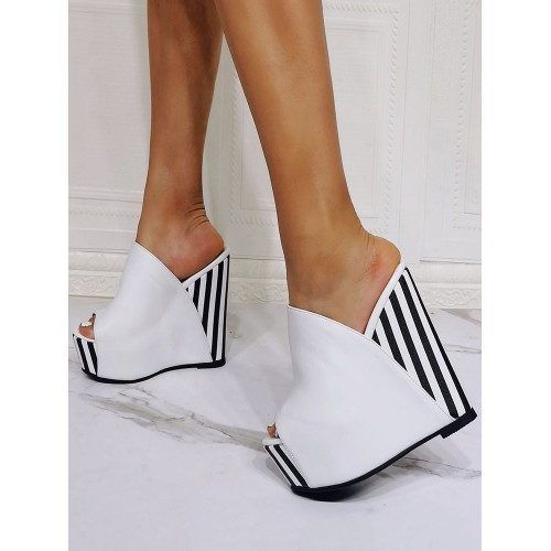 Wedge Sandals White Open Toe PU Leather Slip-On High Heel Mules Trends #113120957152