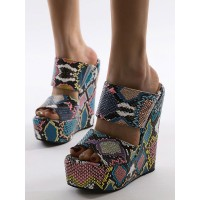 Wedge Shoes For Lady Sexy Round Toe Wedge Heel Slip-On Woman's Blue Green Sandals shop online #06140906528
