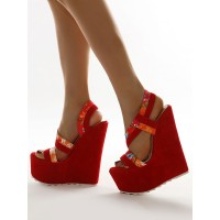Women Wedge Sandals Red Amazing Terry Printed Open Toe Wedge Sandals Latest Fashion #32680948210