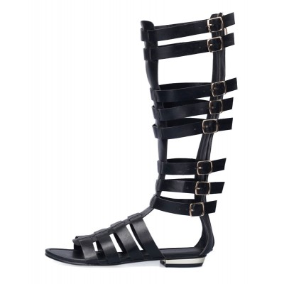 Black Mid Calf Gladiator Sandals Flat Sandals For Women Collection #15310636043