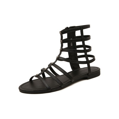 Black Summer Boots Round Toe Flat Heel PU Leather Gladiator Sandals In Sale #96070948126