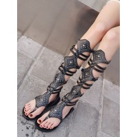 Black Thong Gladiator Sandals Flat Beaded Sandals for Women Number 1 Selling #15310835808