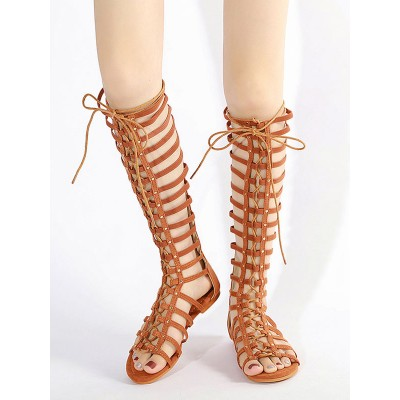 Brown Suede Flat Lace Up Knee High Gladiator Sandals for Women Cheap #15310912856