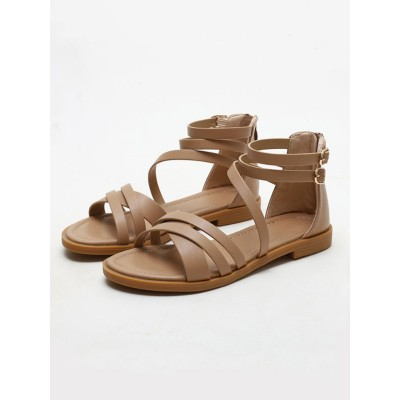 Flat Sandals PU Leather Open Toe Apricot Summer Sandals Top Sale #15310959034