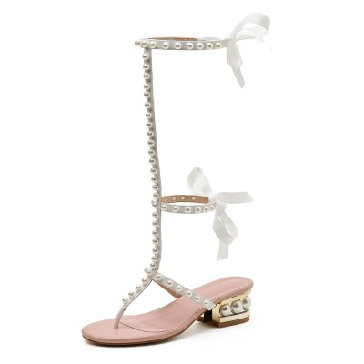 White Summer Boots Round Toe Chunky Heel Pearls PU Leather Lace Up Sandals Cheap #96070948124